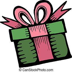 boîte, art, cadeau, agrafe