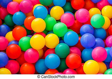 boîte, balles, petit, rempli, coloré