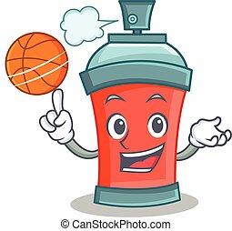 boîte, basket-ball, aérosol, dessin animé, pulvérisation, caractère