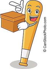 boîte, batte base-ball, caractère, dessin animé