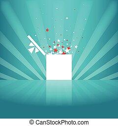 boîte, blanc, étoile, cadeau