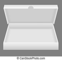 boîte, blanc, ouvert, emballage, illustration