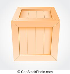 boîte bois, fond blanc