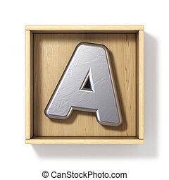 boîte, bois, métal, lettre, argent, 3d