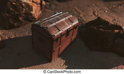 boîte, bois, plage, trésor
