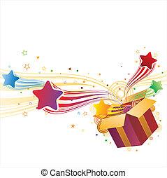 boîte, cadeau, étoile