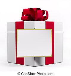 boîte, cadeau, blanc rouge, ruban, 3d