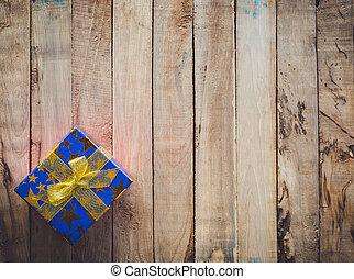 boîte, cadeau, espace, text., bois, fond