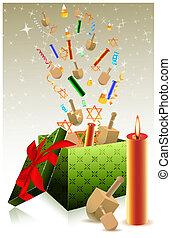 boîte, cadeau, hanukkah