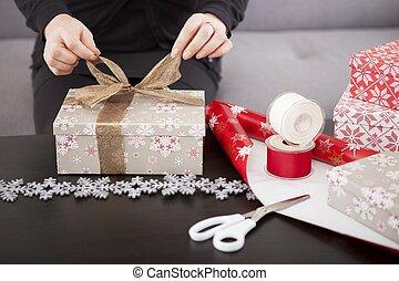 boîte, cadeau, haut, préparer, fin, noël