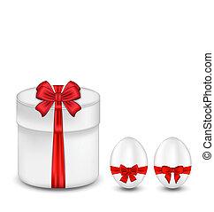 boîte, cadeau, oeufs, arc, paques, rouges