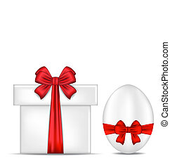boîte, cadeau, paques, arc, oeuf, rouges