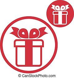 boîte, cadeau, simple, couleur isolée, unique, vecteur, backg, blanc, icône