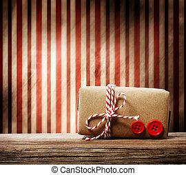 boîte, cadeau, sur, fait main, fond, rayé