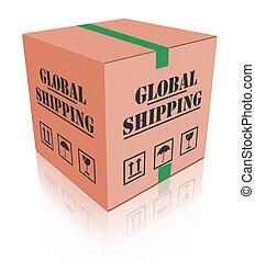 boîte, carboard, global, expédition, paquet