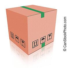 boîte, carboard, paquet