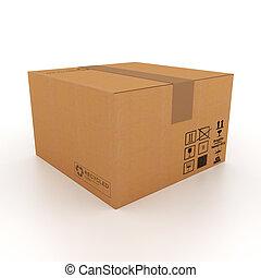 boîte, carton, 3d