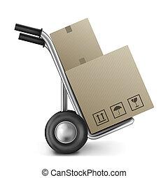 boîte, carton, camion, sac