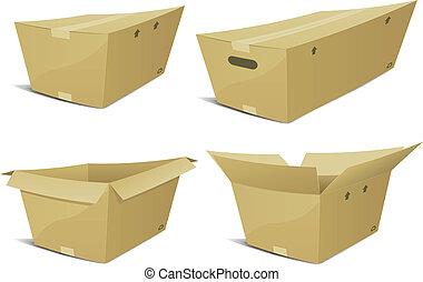 boîte, carton, ensemble, dessin animé