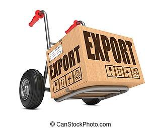 boîte, carton, -, main, exportation, truck.