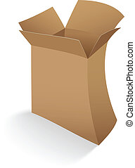 boîte, carton, ouvert, vide