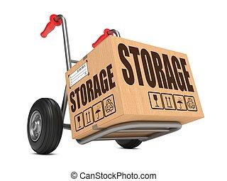 boîte, carton, stockage, -, main, truck.