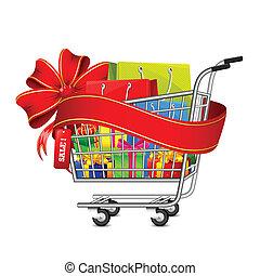 boîte, charrette, achats, vente, cadeau