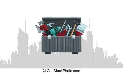 boîte, cityscape, sur, intérieur, outils