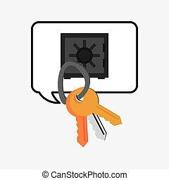 boîte, clés, sûr, système, conception, dépôt, sécurité