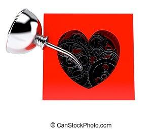 boîte, coeur, engrenages