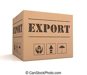 boîte, concept, illustration, exportation, carton, 3d