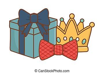 boîte, cravate, couronne, arc don