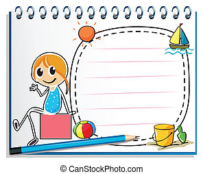 boîte, crayon, séance, image, illustration, cahier, fond, girl, blanc