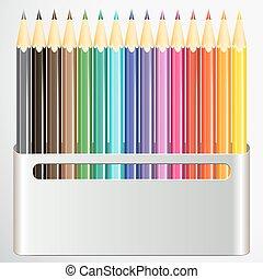 boîte, crayons, blanc, arrière-plan.