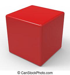 boîte, cube, dés, copyspace, vide, ou, rouges, spectacles
