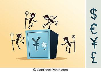 boîte, dépôt, sûr, voleur, attaqué