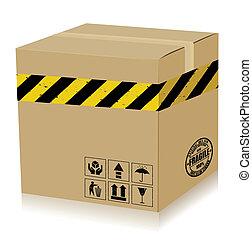 boîte, (danger)., vecteur, poignée, soin