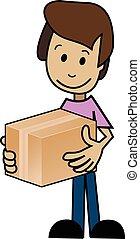 boîte, dessin animé, homme
