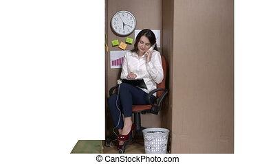 boîte, documents, fonctionnement, téléphone affaires, femme, carton