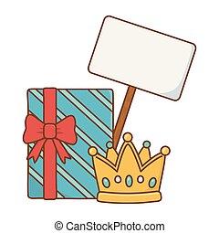 boîte, enseigne, couronne, cadeau