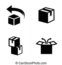boîte, ensemble, icônes