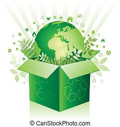 boîte, environnement, vecteur, signe
