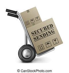 boîte, envoi, obtenu, carton