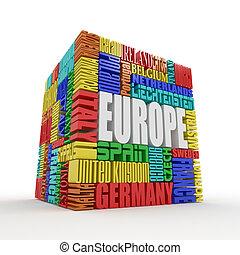 boîte, europe., nom, européen, pays