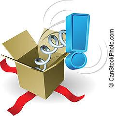 boîte, exclamation, concept, marque, cric, surprise