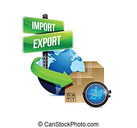 boîte, exportation, globe, montre, importation