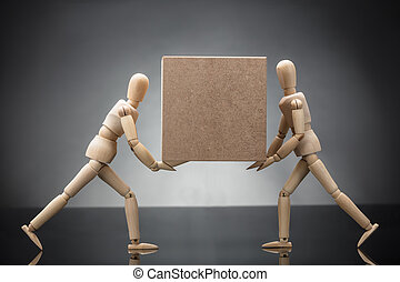 boîte, factice, bois, couple, porter, carton