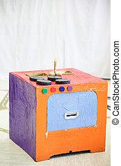 boîte, fait, bricolage, poêle, papier, cuisine