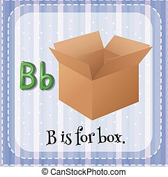 boîte, flashcard, b, lettre
