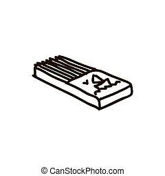 boîte, fond, bois, blanc, crayons